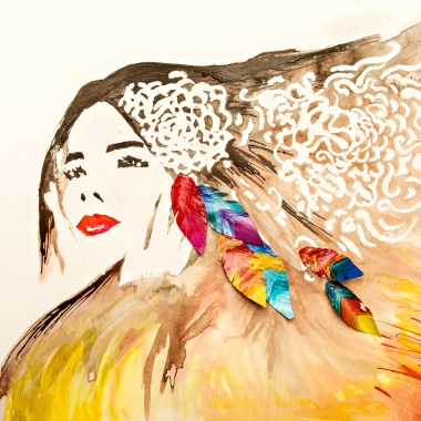 girl with feathers in her hair by Gigi Perkins