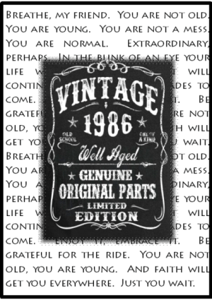 masculine birthday card with typed background quote fronted with chalkboard image with decorative words vintage year recipient born well aged genuine original parts limited edition