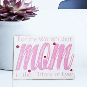 Mother's day card fuchsia mom word embellished