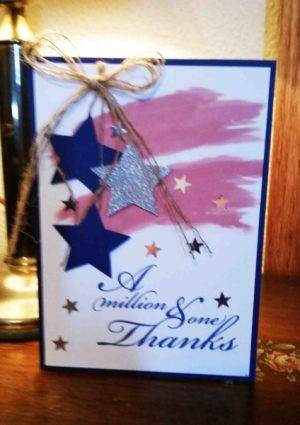 Million Thanks handmade card stars, twine ribbon, red, white, blue