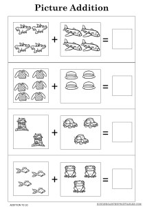 Picture addition worksheets to 10