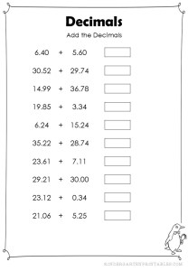 Add Decimals Hundredths Worksheets