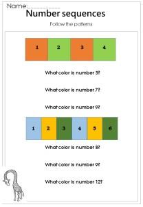 basic number sequences worksheet