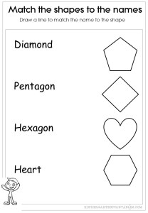 match the shapes to the words worksheets
