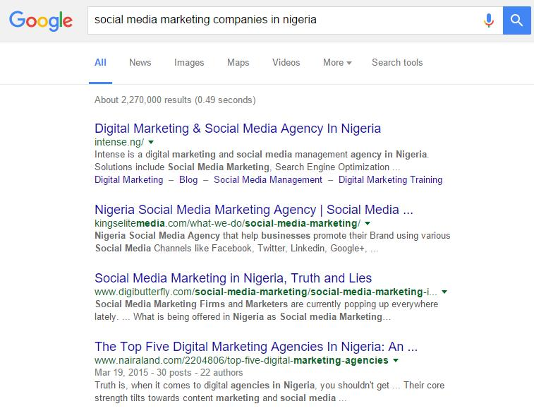Social Media Marketing Companies in Nigeria Google Listing