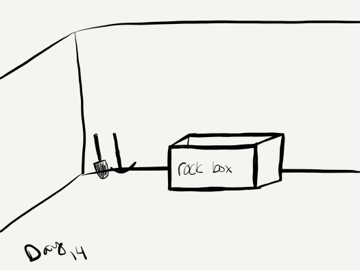 "black and white sketch of a shovel, pickaxe, and box in a room . the box is labeled ""rock box"""