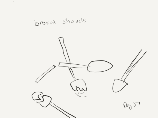 "Sketch of broken shovels. Two have broken heads, one has a handle split in half lengthwise (down the shaft) and the other is split in half widthwise (snapped). labeled ""broken shovels"""