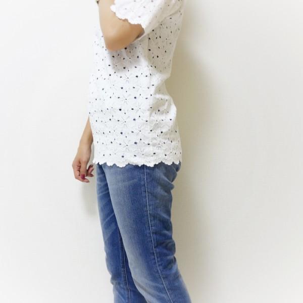 ディーホリックコットンレース半袖Tシャツ