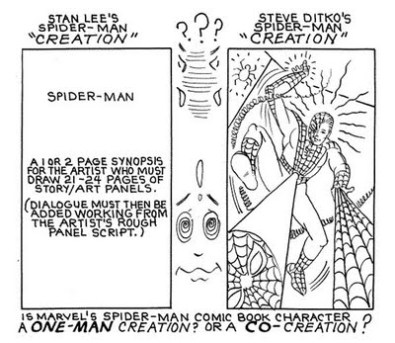 "1990 - detail from Ditko's ""An Insider's Part of Comics History: Jack Kirby's Spider-Man"""