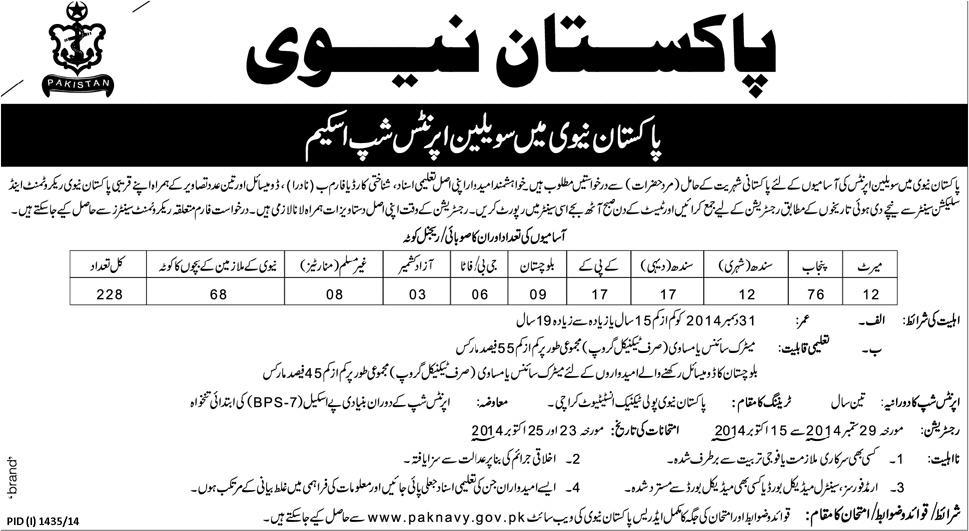 Pak Navy Civilian Apprenticeship Scheme 2014 Registration