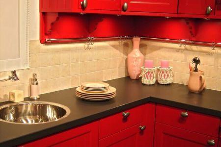kitchen cabinets traditional red 001 s2076707 tile backsplash black countertop