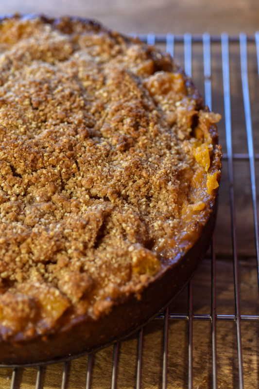 Apricot Crumble Tart with Apricot Kernel Ice Cream