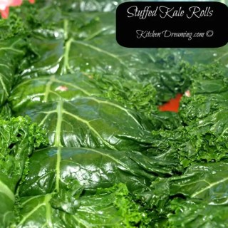 Stuffed Kale Rolls are just my spin on the traditional cabbage roll and is a dish consisting of cooked stuffed kale leaves wrapped around a filling.v