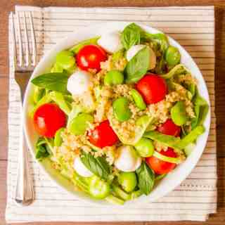 Broad Bean and Quinoa Caprese Salad