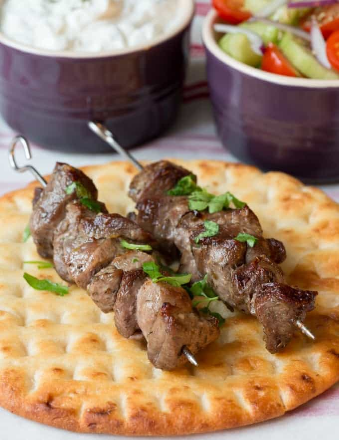Greek Lamb Souvlaki Kebabs - Marinated lamb, beautifully charred with a juicy, succulent centre.