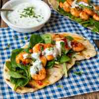 Speedy Flatbreads with Garlic Chilli Shrimp and Greek Yogurt Dip - ready in 30 mins - including making the flatbreads from scratch.