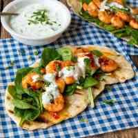 Speedy Flatbreads with Garlic Chilli Shrimp and Greek Yogurt Dip