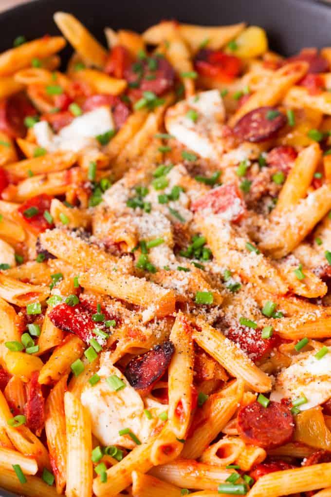 Penne Arrabiata with Mozzarella and Chorizo - a delicious twist on the ...