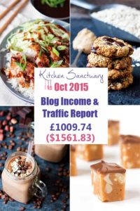 October 2015 Income and Traffic report for Kitchen Sanctuary Blog