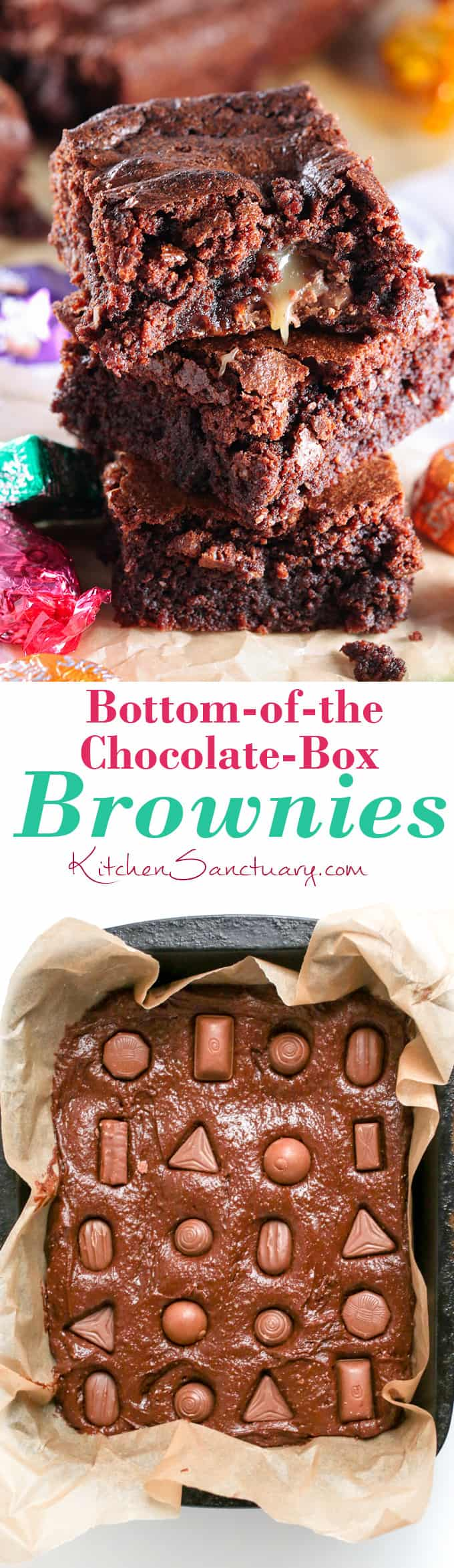 Use up those leftover Christmas chocolates in these fudgy chocolate brownies!