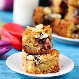 Squidgy Cherry and Almond Blondies (aka Cherry Bakewell Blondies)