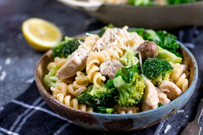 A throw-it-all-in-the-pan weeknight meal, this One Pot Chicken and Broccoli Pasta is quick and tasty!