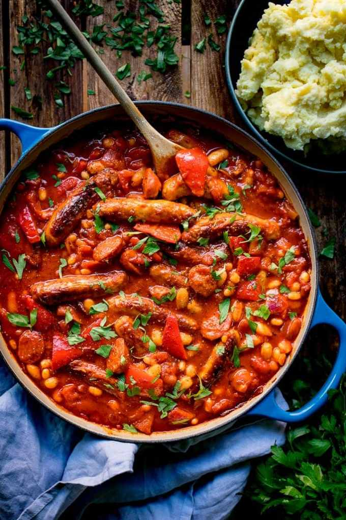 This Big Batch Sausage and Bean One Pot is a great dish for a family gathering that can be made ahead of time.