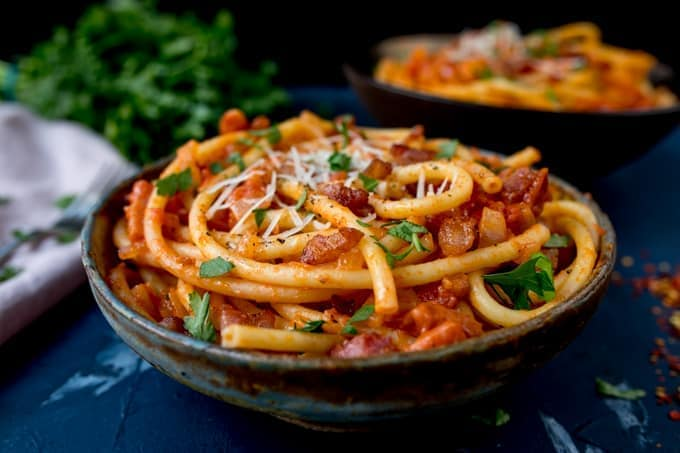 Amatriciana is a simple but tasty Italian dish, made with bucatini pasta - so good!