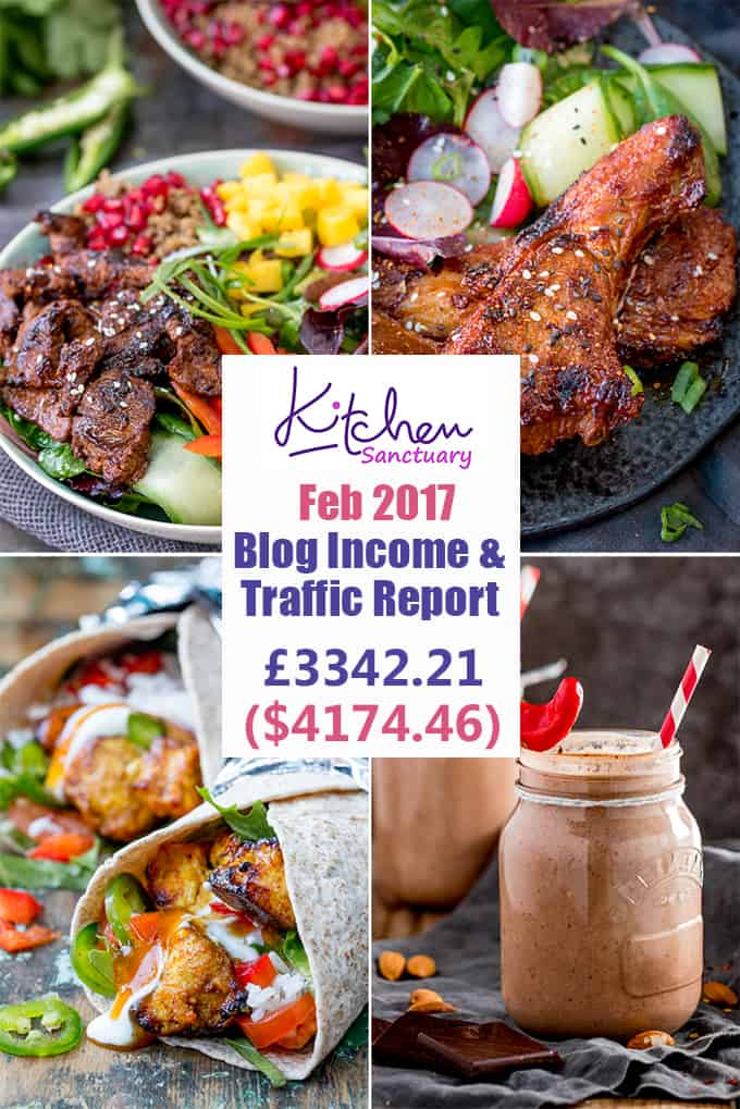 Interested in learning some of the behind-the-scenes stuff in food blogging? Check out my February 2017 income and traffic report.