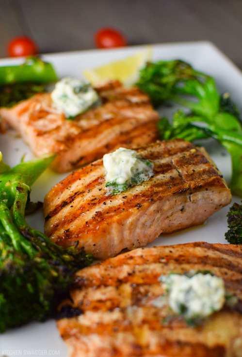 Excellent Sauce Salmon Steak Recipe Pan Fried Basil Butter Broccolini Recipe Kitchen Salmon Steak Recipe Easy Grilled Salmon Basil Butter Broccolini Recipe Easy Grilled Salmon