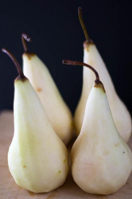 Peeled Bosc Pears