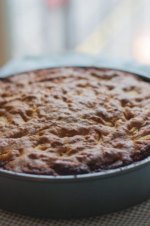 apple cake ready to flip