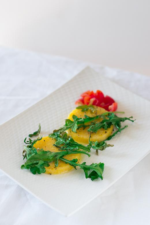 baked polenta and arugula ready to go