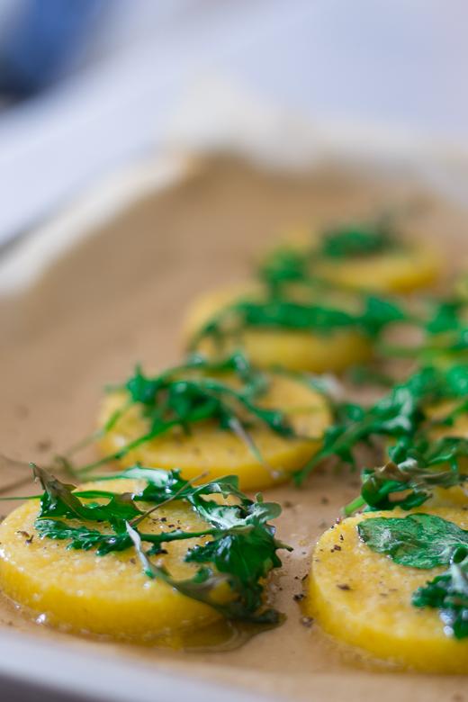 baked polenta with arugula