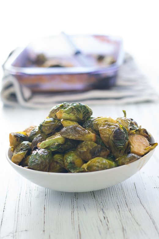 miso glazed roasted brussel sprouts