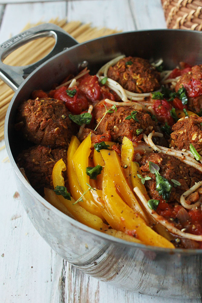 vegan meatballs don't have to be complicated -- the main ingredients in these guys are eggplants and carrots. So good.