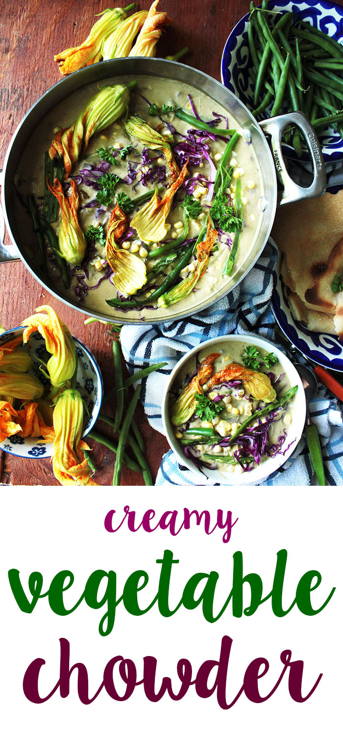 this creamy veggie chowder is amazing. Full of summer and fall produce.