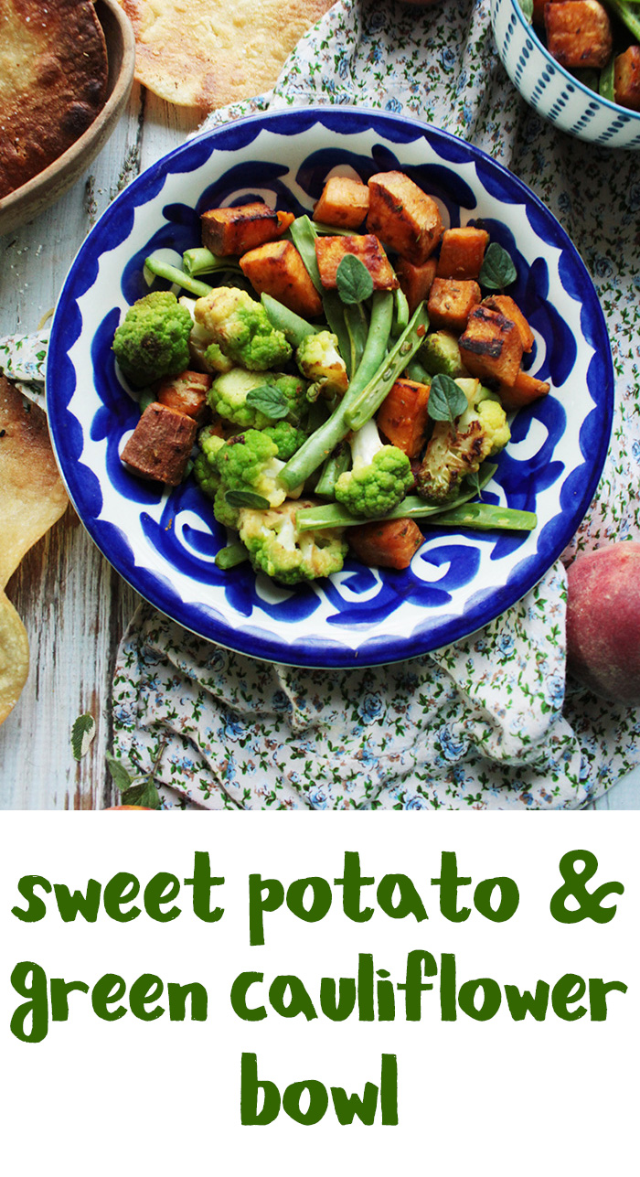 This sweet potato cauliflower skillet is a budget friendly, veggie filled meal. Also great as a side dish