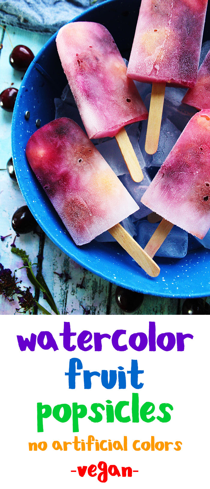 These sweet fruit popsicles look just like a watercolor painting. They are super easy to make, refreshing, and healthy.