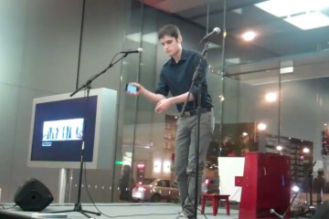 "Jason Charney performs ""Compass"" at an Apple Store in Chicago, Illinois."
