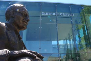 James Naismith statue outside the DeBruce Center at the University of Kansas