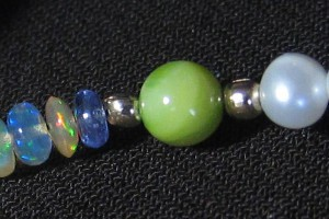 Water & Earth Beaded Necklace - Opal Beads, Tanzanite, Freshwater Pearls, River Shell Beads, Jewelry, Accessories, Welo, Ethiopian Opal