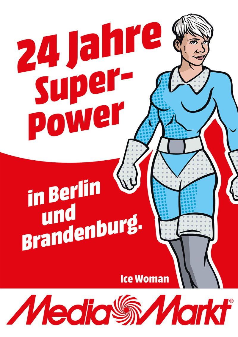 Comic Superhelden Illustrationen für Werbung