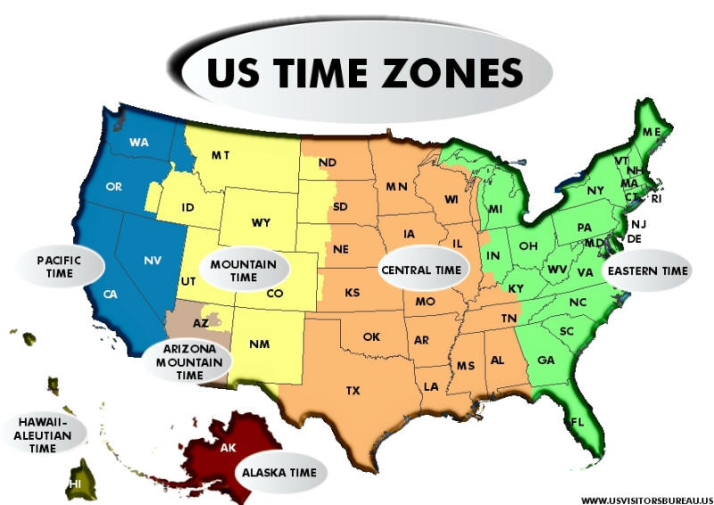 Current Dates And Times In US States Map Find Map USA Here Maps