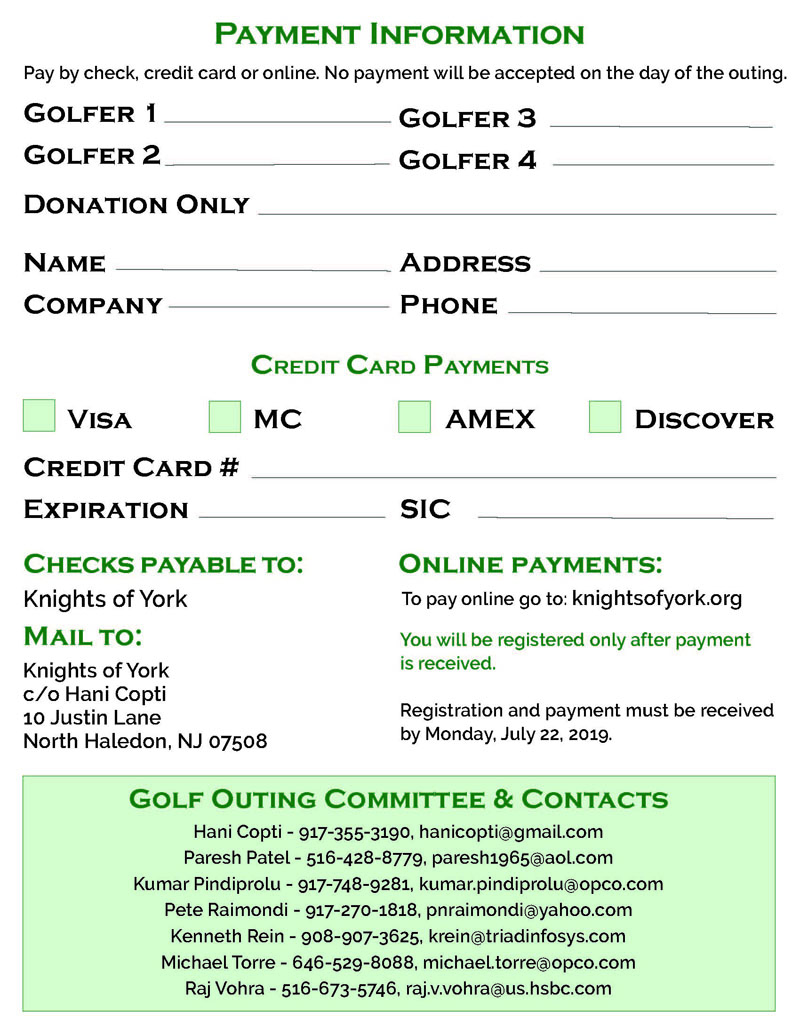 Knights of York 22nd Annual Golf Outing Payment Information