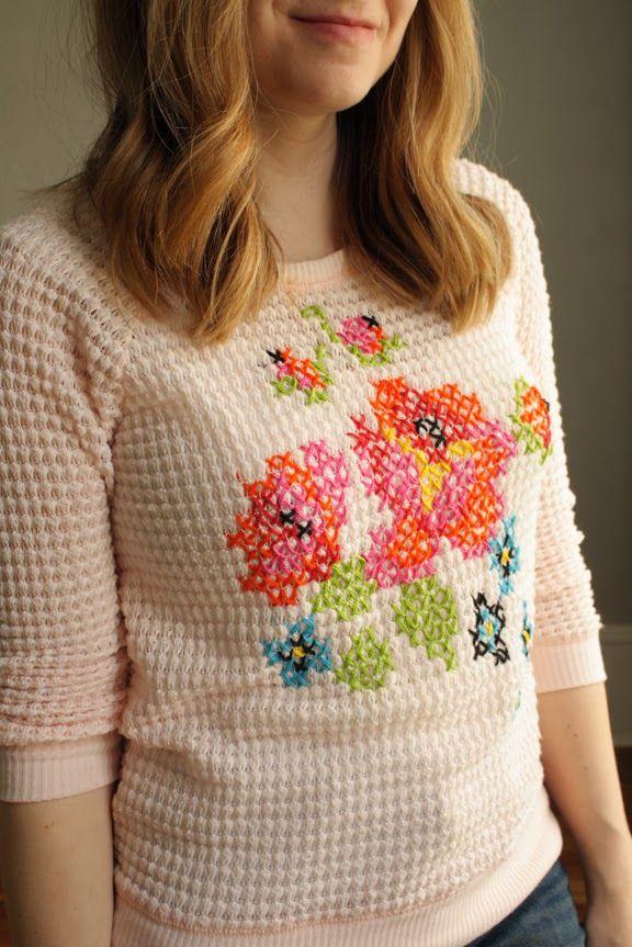 cross stitch sweater DIY: knittedbliss.com