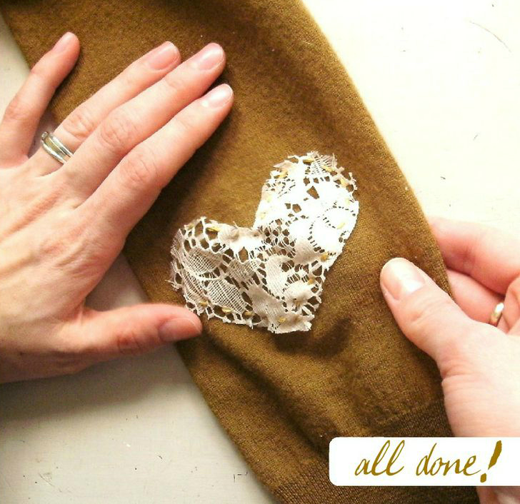 Pin Ups: lace elbow patch diy| knittedbliss.com