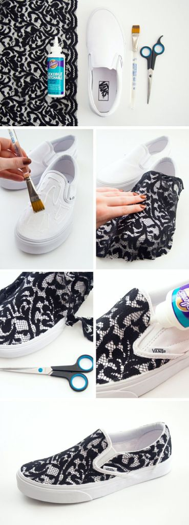 Pin Ups: lace applique shoes| knittedbliss.com