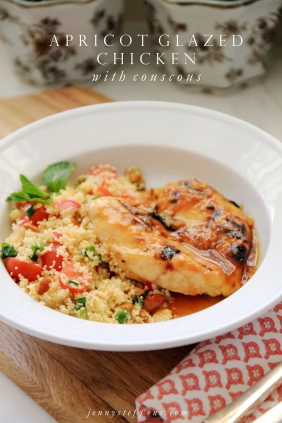 Pin Ups and Link Love: Apricot glazed Chicken and Cous Cous| knittedbliss.com