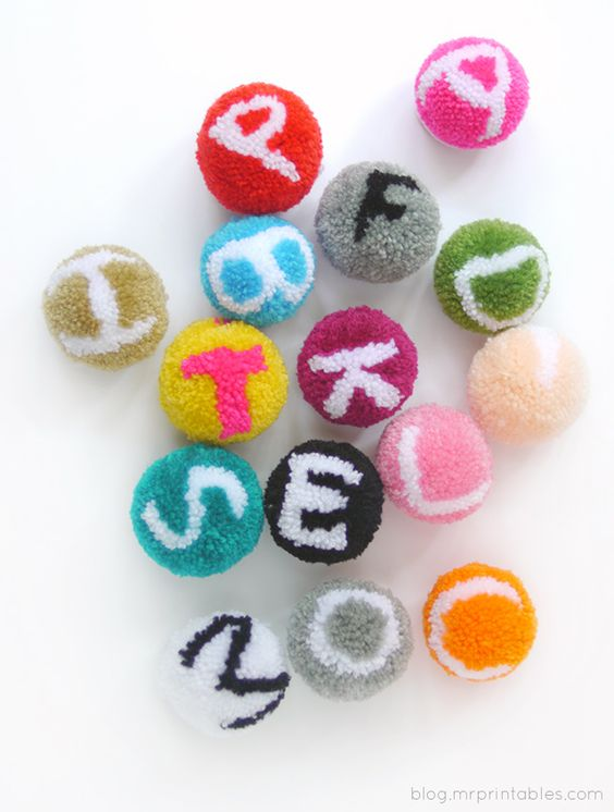 Pin Ups and Link Love: Alphabet Pom Poms | knittedbliss.com
